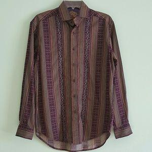 Robert Graham Men's Purple Stripe Shirt Sz M